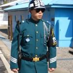 Soldat mit geballten Fäusten, einer Kampfhaltung aus dem Tae Kwon Do